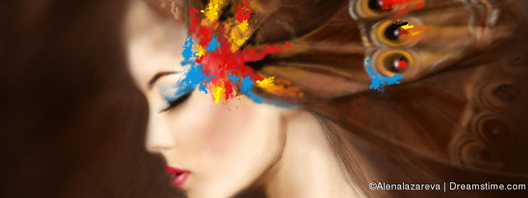 Fantasy Portrait beautiful woman butterfly. Abstract illustration