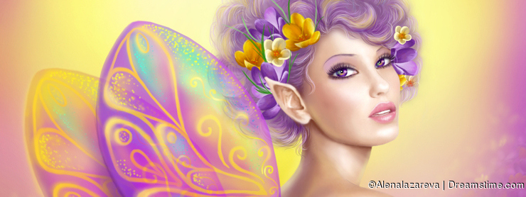 Beautiful girl fairy butterfly at pink and purple flower background