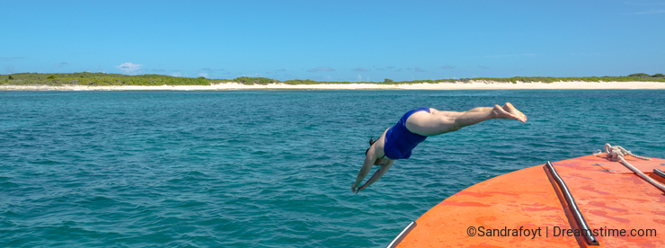 Dive In - Woman Dives Into Caribbean Sea