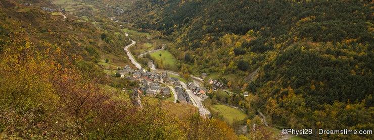 Village in Pyrenees valley