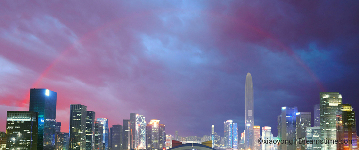 Shenzhen skyline, rainbow, China