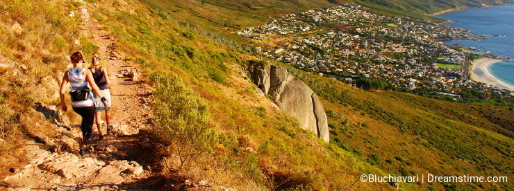 Trekking in Table Mountain national park. Cape Town. Western Cape. South Africa