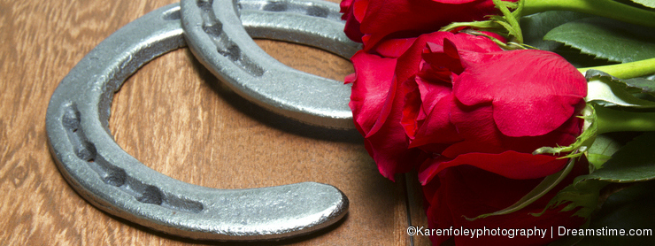 Kentucky Derby Red Roses with Horseshoes on Wood