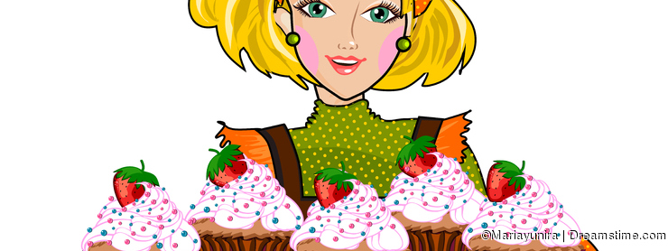 Woman and cupcakes