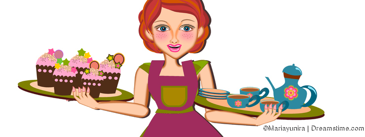 Woman serving tea and cupcakes