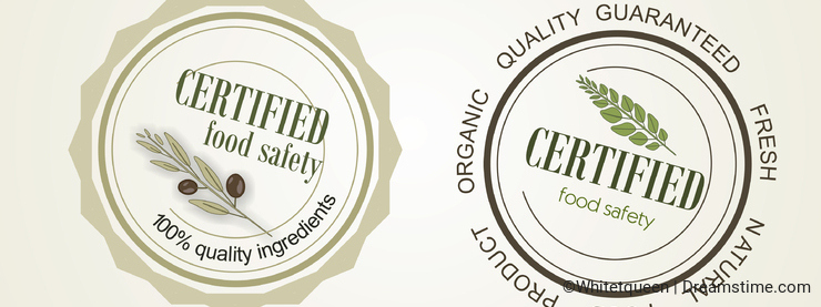 Set of seals, logo food safety, vector