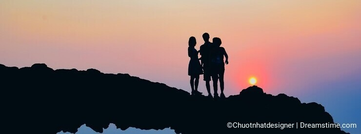 Beach Rock, Sunset on Ly Son, Vietnam.