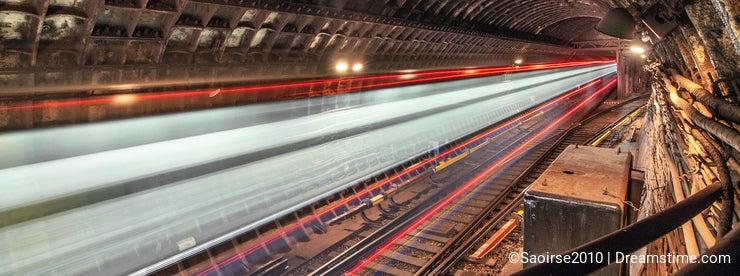 Train in tunnel subway