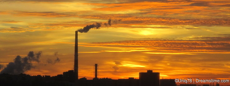 Thermal Power Plant. Sunset. Moscow region