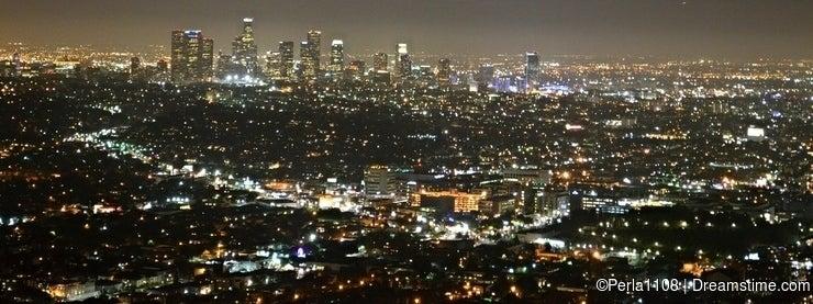 Los Angeles city skyline at night