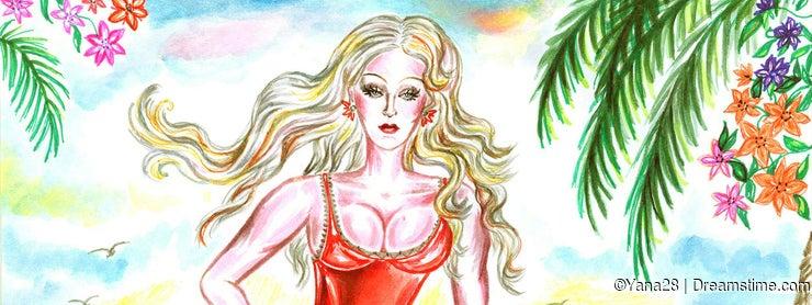 Baywatch girl on the beach with a lifeline