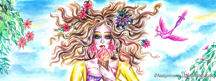 Summer fairy girl eating ice cream on the shore of sea