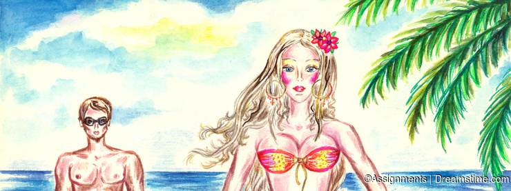 Young woman on the beach with colorful pareo
