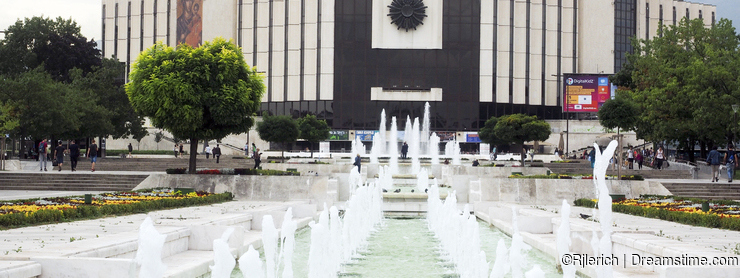 Editorial The National Palace of Culture and fountains are seen