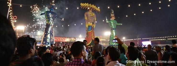 Huge Effigies of King Ravana, his son Megnath and brother Kumbhkarana (Villains of Hindu mythological Epic Ramayana)