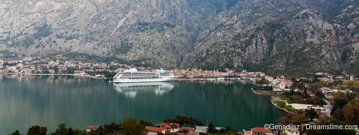 Cruise ship. Kotor port. Montenegro