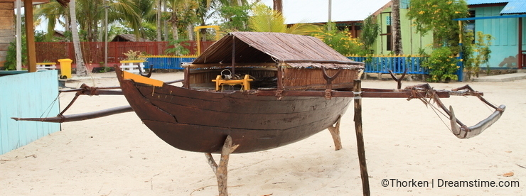 Replica of traditional Papuan boat