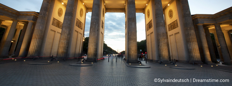 Brandenburg Gate at evening in Berlin