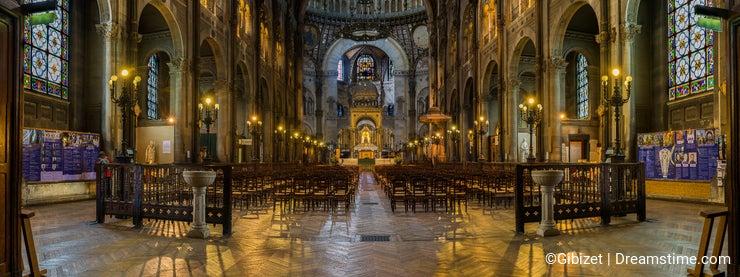 Interiors and details of Saint Augustin Church, Paris, France