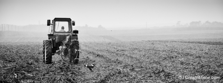Tractor working in the fields under heavy rain
