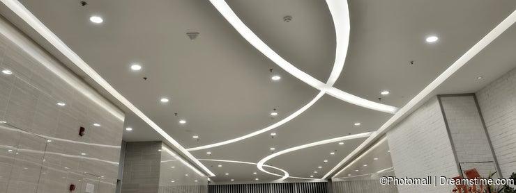 Led ceiling of modern plaza hall