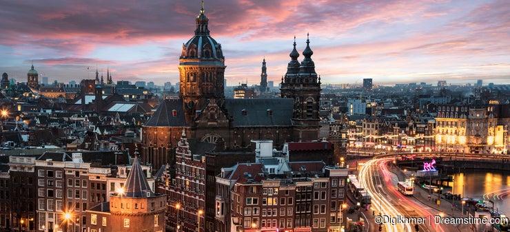 Amsterdam cityscape sunset