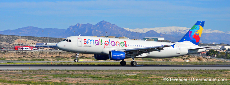 Small Planet Budget Airline With A Backdrop Of Snow