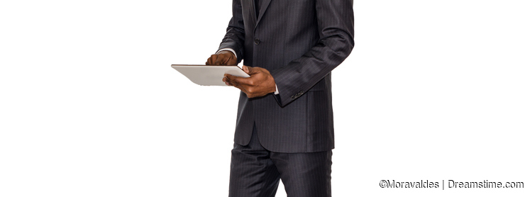 businessman and touch tablet