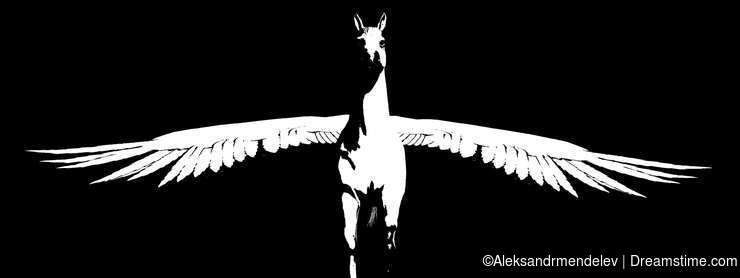 Pegasus. Animated silhouette. Alpha channel. 4K video.