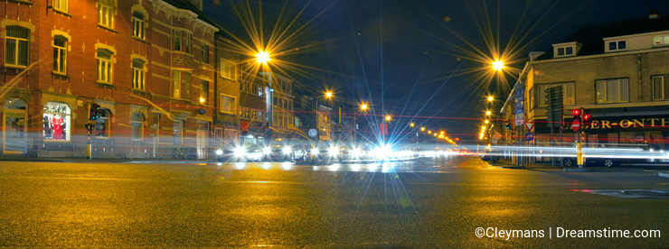 Playing with lensflare concept , crossroads nightscene