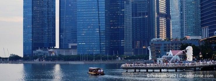 The Merlion Fountain Singapore Skyline