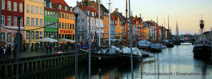 Nyhaven at evening in Copenhagen