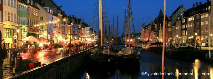 Nyhaven at night of New Year in Copenhagen