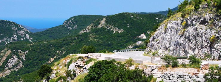 Road and landscape in Montenegro, sea and mountains