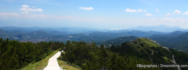 Path over mountains in Lovcen National Park