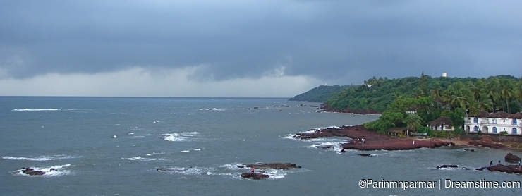A Cloudy Storm over an Ocean at Dona Paula, Panaji, Goa...