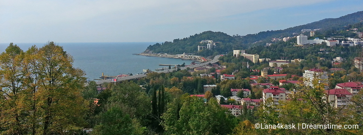 Seaside Sochi from the height, city and sea