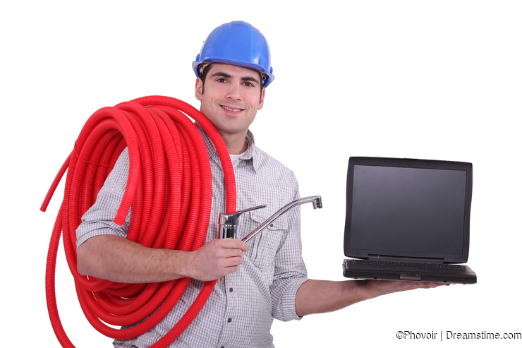 Plumber with a laptop