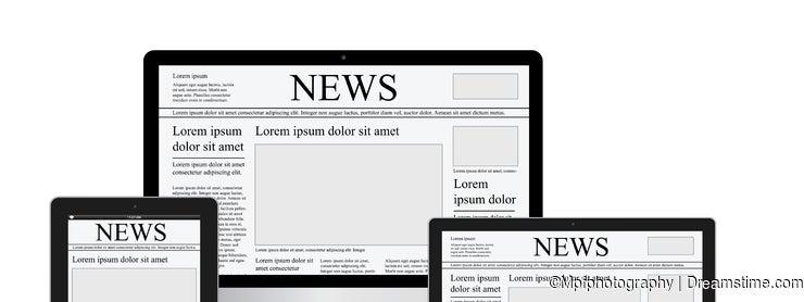 Online news vector illustration concept computer tablet newspaper