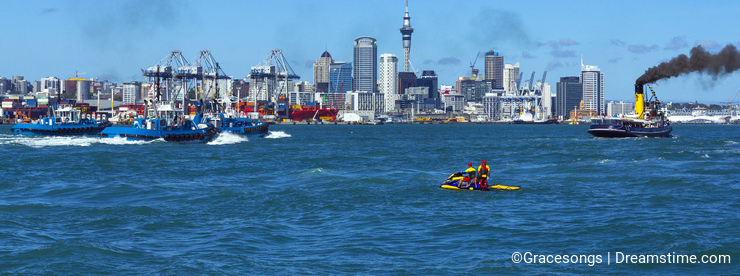 Auckland City View from Devonport Wharf Auckland New Zealand