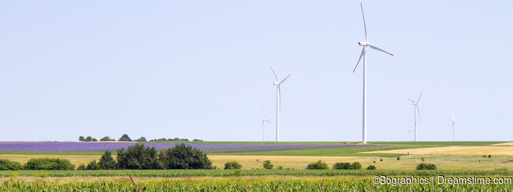 Large wind turbines on agricultural field