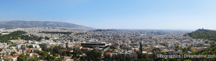 Wide city panorama from Acropolis of Athens