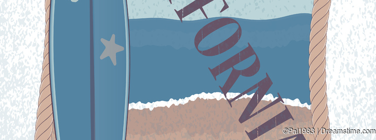 Vector landscape of California and surfboard