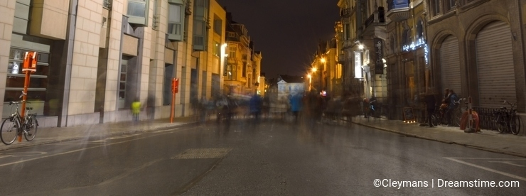 Ghosts in a street of Ghent