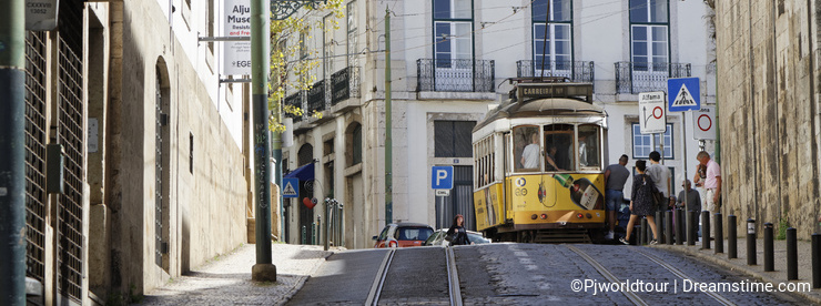 Tramway in the streets of Alfama