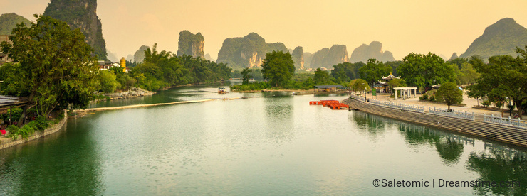 Sunset over Li river in Yangshuo city area