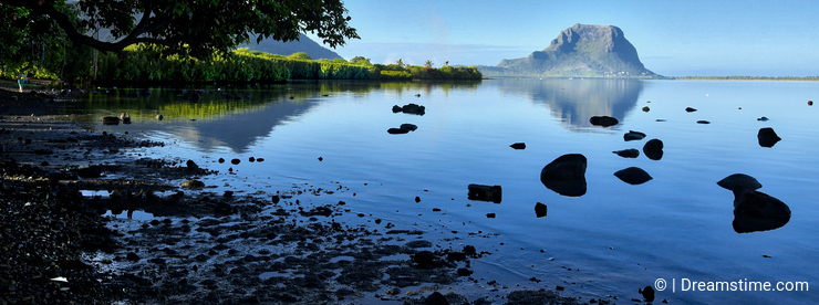 View of Le Morne mountain with calm sea - Mauritius