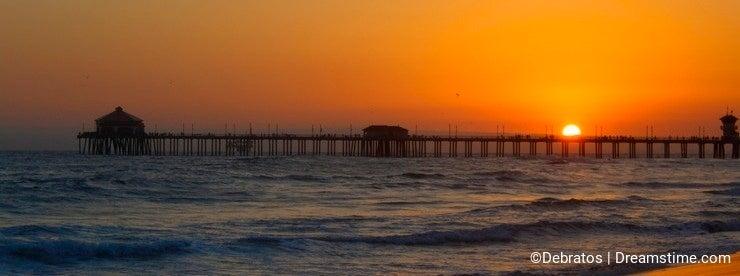 Sunset pier Huntington beach California