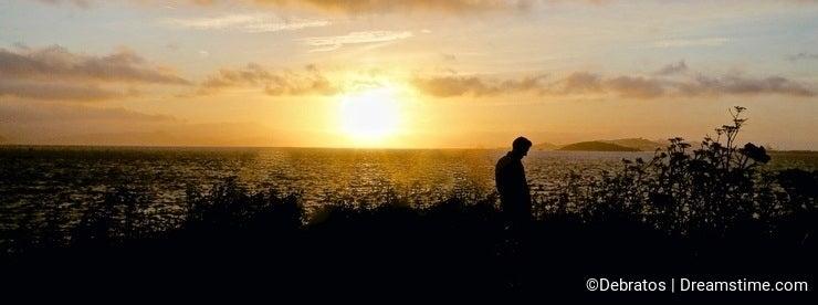 Sunset man silhouette