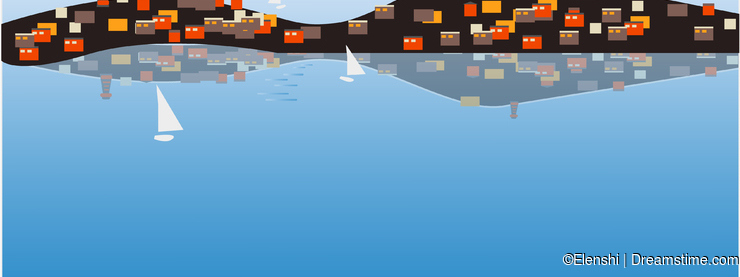 A seagull on the roof, a small town on a small island, lighthouses and mountains, a beautiful view of the sea. Vector image for de